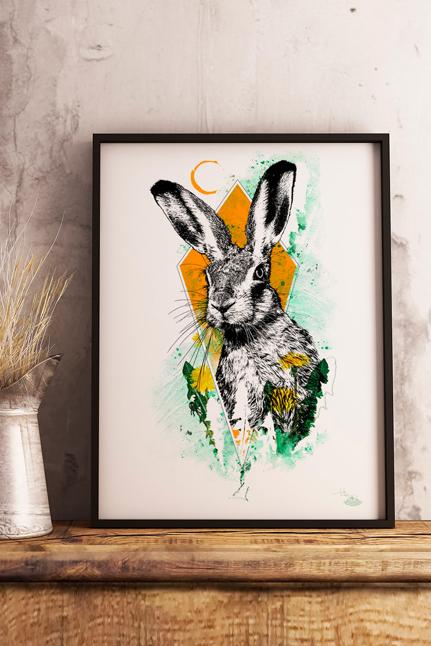 "Modellbild mit ""Lepus Europaeus  ( Der Hase) – Illustration HelvEdition von Ka L-O-K 